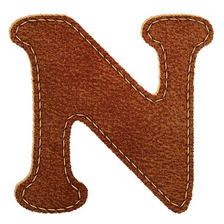 Leather alphabet. Leather textured letter N  Vector