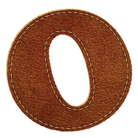 Leather alphabet. Leather textured letter O  Vector