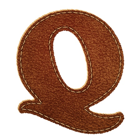 Leather alphabet. Leather textured letter Q  Vector