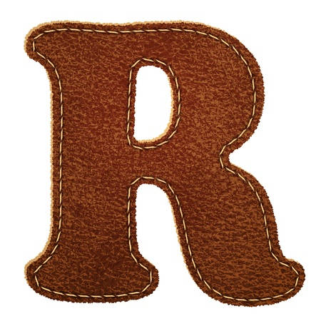 Leather alphabet. Leather textured letter R.  Vector