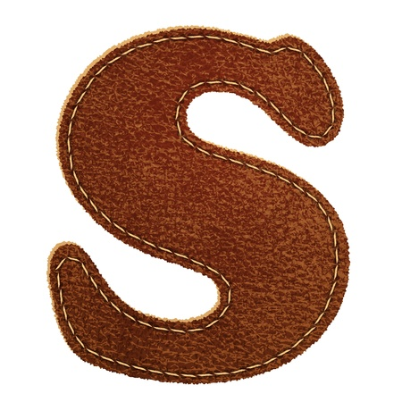 Leather alphabet  Leather textured letter S  Vector