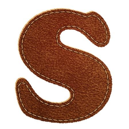 buchstabe s: Leder Leder texturiert Alphabet Buchstaben S
