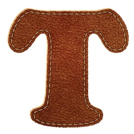 レザー テクスチャード レザー アルファベット T