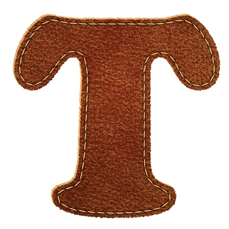 Leather alphabet  Leather textured letter T  Vector