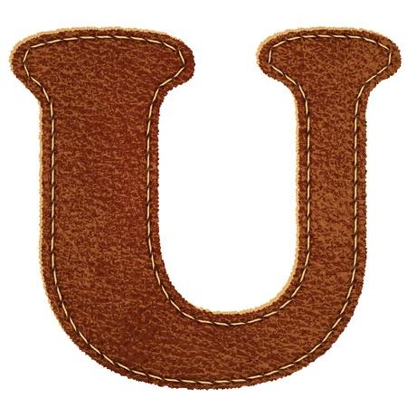 Leather alphabet  Leather textured letter U
