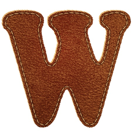 Leather alphabet  Leather textured letter W  Vector eps10 background