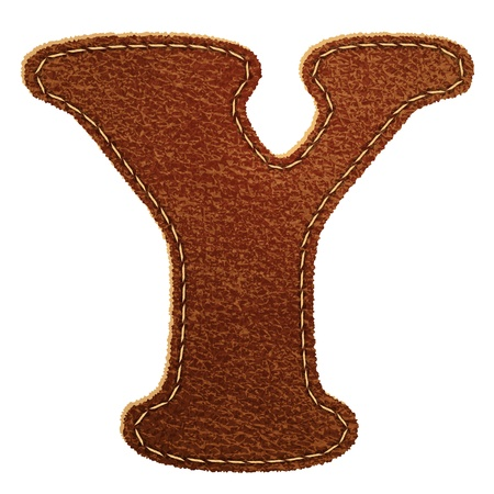 Leather alphabet  Leather textured letter Y   Vector
