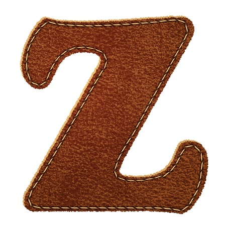Leather alphabet  Leather textured letter Z   Vector