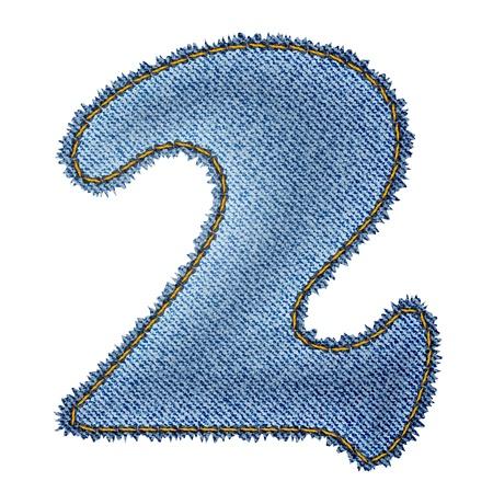 denim jeans: Jeans alphabet  Denim number 2  Illustration