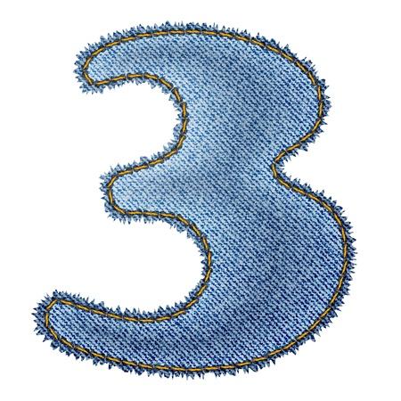 Jeans alphabet  Denim number 3   Vector