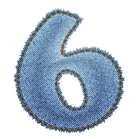 Jeans alphabet  Denim number 6   Vector