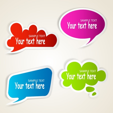 Set of colorful speech bubble paper stickers  Vector