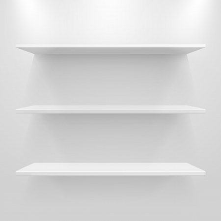Empty white shelves on light grey background. Vector