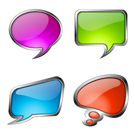 Set of colorful glass speech bubbles with metallic frames.  Vector