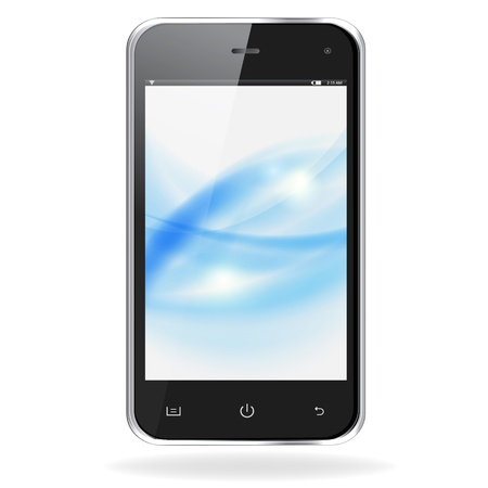 pda: Realistic mobile phone with blue waves on screen isolated on white background.