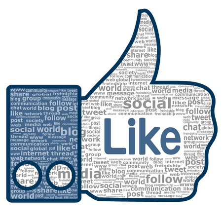 Like sign. Thumbs up created from the words used in social networks.