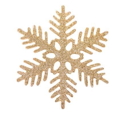 cristmas: Gold snowflake isolated on white background