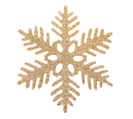 Gouden sneeuwvlok geïsoleerd op witte achtergrond Stockfoto