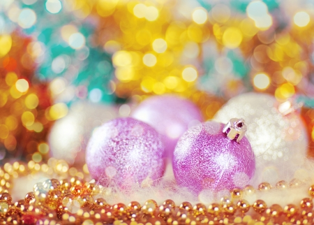 Greeting card with Christmas balls in gold design photo