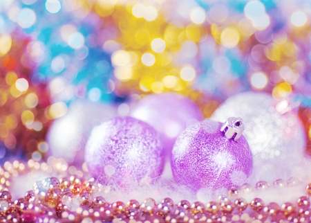 Greeting card with Christmas balls in light lilac design photo