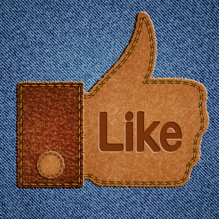 Like sign. Leather Thumbs up symbol on blue jeans background.  Vector