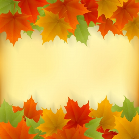 Abstract golden autumn frame from maple leaves. Vector