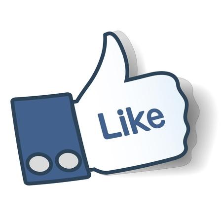 ように記号。ソーシャル ネットワークで使用される紙からシンボルの親指。