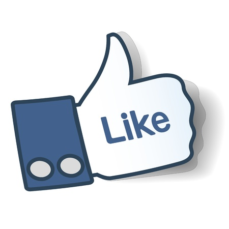 Like sign. Thumbs up symbol from paper used in social networks. Illustration