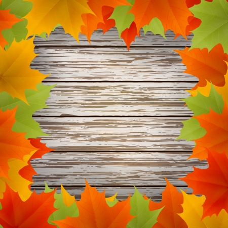 Abstract golden autumn frame from maple leaves on wood background. Vector