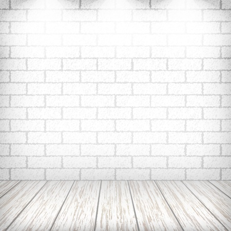 White brick wall with wooden floor and spotlights in a vintage interior. Illustration
