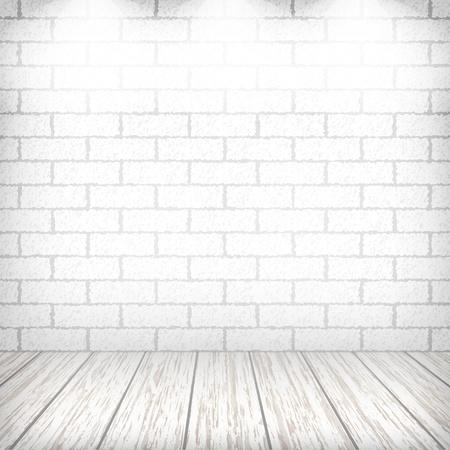 Witte bakstenen muur met houten vloer en spots in een vintage interieur. Stock Illustratie