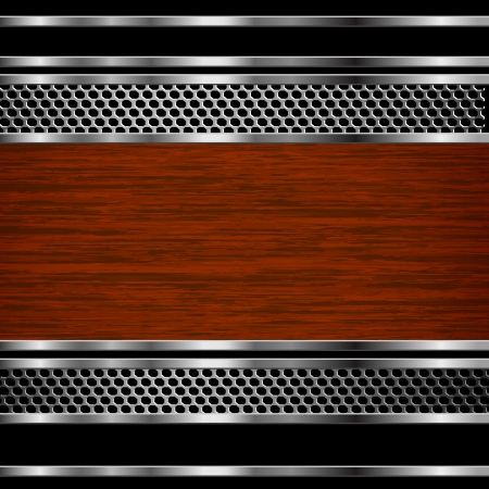 Abstract steel and wood business background. Vector