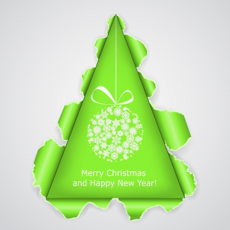 cristmas card: Abstract Christmas tree made of torn paper.