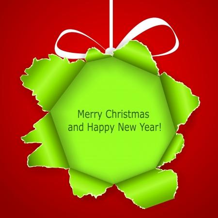 抽象的な緑のクリスマスのボール紙製の引き裂かれた赤い背景の上。