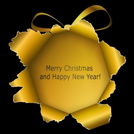 抽象的なゴールデン クリスマス ボール紙製の引き裂かれた黒い背景。