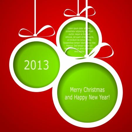 抽象的な緑色クリスマスのボール紙の赤い背景の上から刈り取ら。