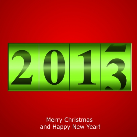 new year counter: Green New Year counter on red background.  Illustration