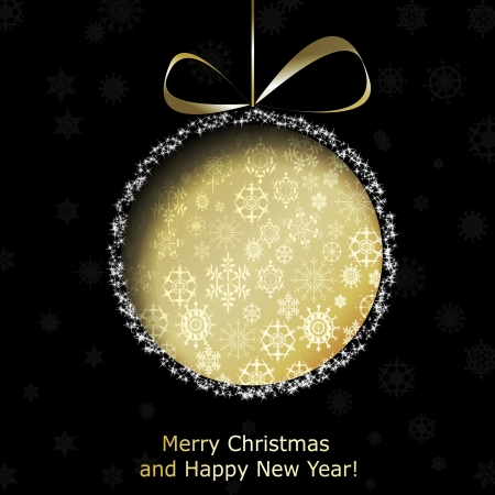 Abstract golden Christmas ball cutted from paper on black background.