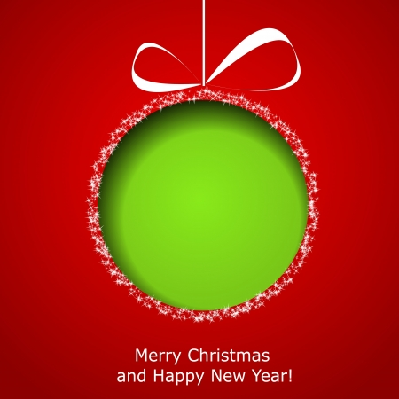Abstract green Christmas ball cutted from paper on red background.