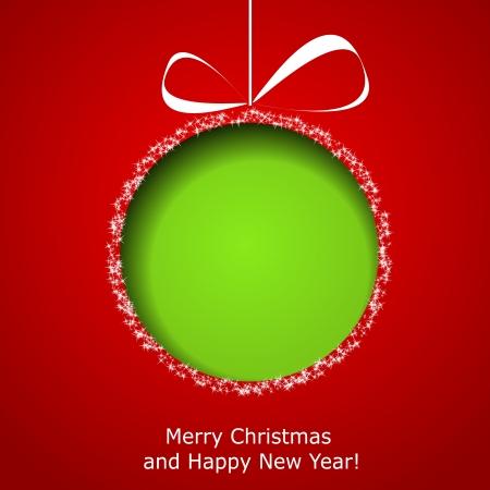 Abstracte groene Kerst bal gesneden uit papier op rode achtergrond. Stock Illustratie