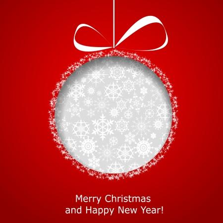 抽象的なクリスマス ボールは赤の背景紙から刈り取ら。  イラスト・ベクター素材