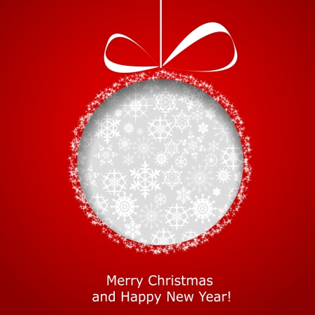 Abstract Christmas ball cutted from paper on red background.