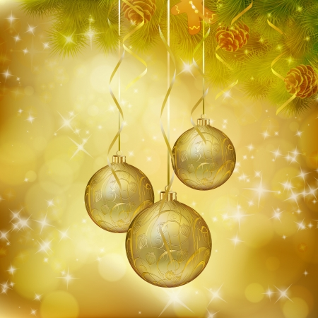 Golden Christmas balls on abstract gold background.  Vector
