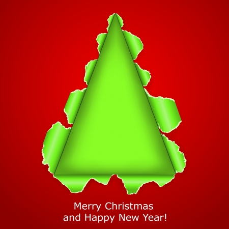 Abstract Christmas tree made of torn paper on red background.  Vector