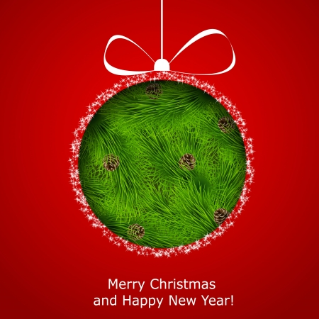 Abstract Christmas ball cutted from paper on red background. Stock Vector - 16838685