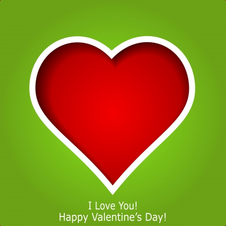Abstract red heart cutted from green paper background  Valentines day greeting card  illustration Stock Vector - 17560283