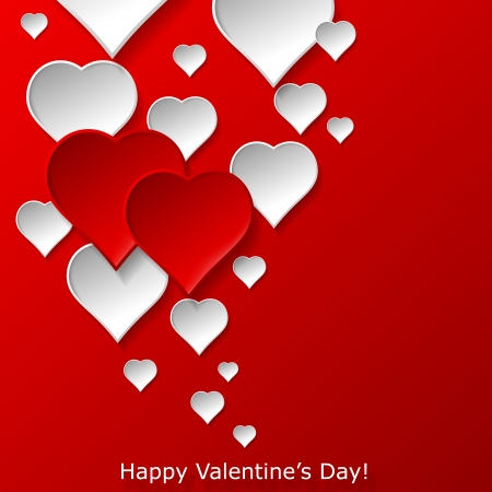 Abstract flying red and white hearts on red background  Valentines day concept   illustration Stock Vector - 17560337