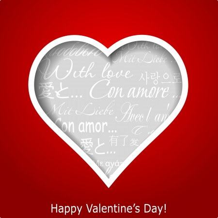 Abstract heart cutted from red paper background  Valentines day greeting card illustration Vector