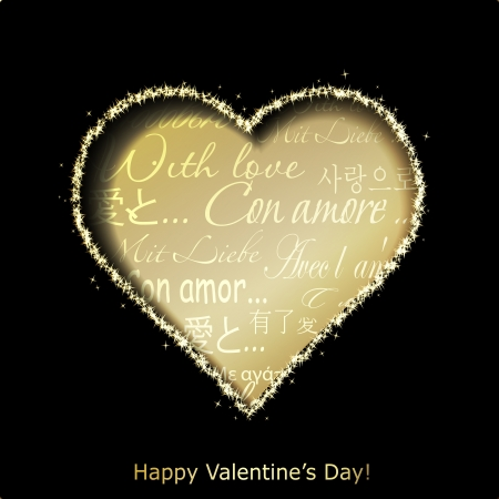 valentine s: Abstract golden heart cutted from black paper background  Valentines day greeting card  illustration Illustration