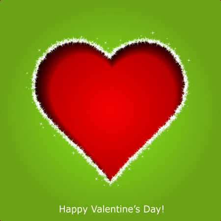 Abstract red heart on green paper background  Valentines day greeting card illustration Vector